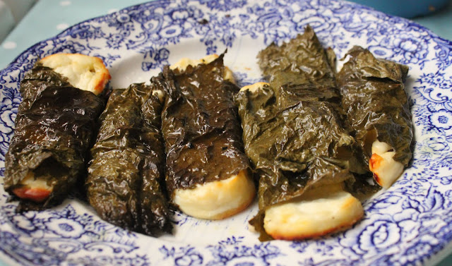 Halloumi wrapped in vine leaves