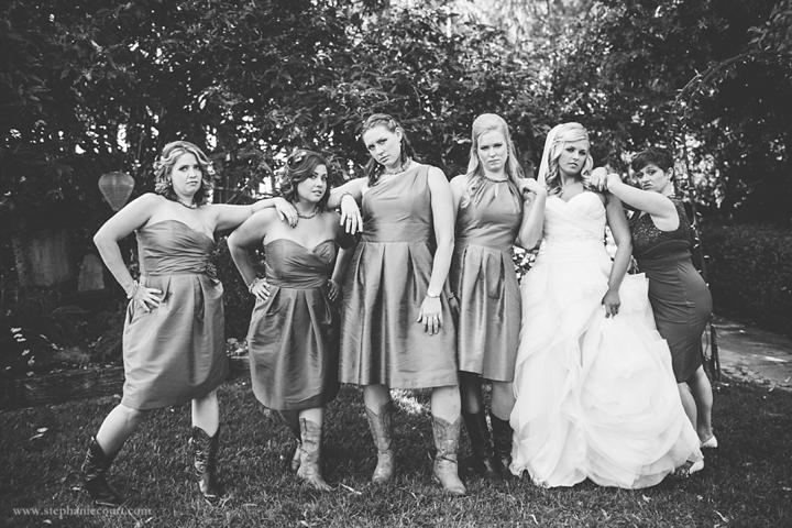 """bride and bridesmaids with attitude"""