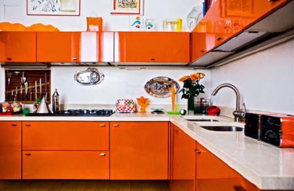warna cat dapur modern orange
