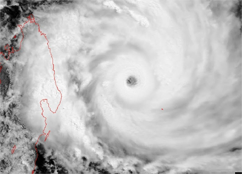 Image satellite du cyclone tropical très intense Gafilo en 2004