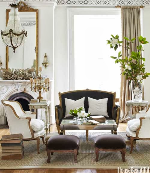gorgeous antique gold mirror in a classic living room