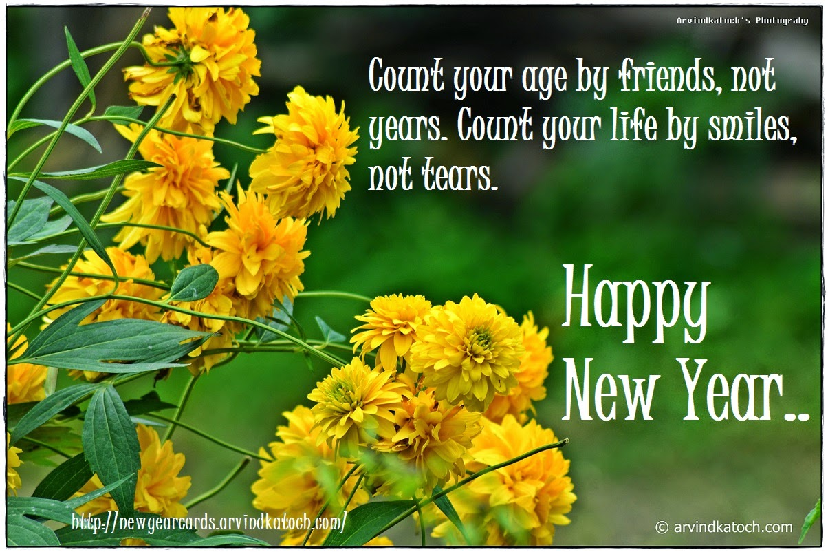 Yellow Flowers, New Year Card, Smile, Tears, Friends