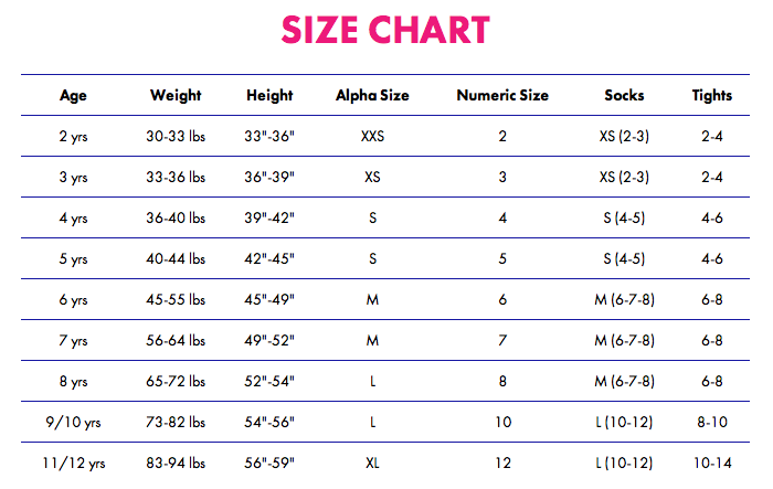 Month Shoe Size Chart