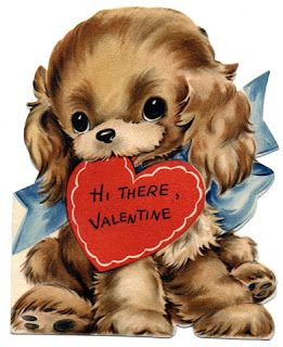 free vintage kids valentine card puppy with red heart card in mouth Free Vintage Valentines Clip Art and Printables Roundup!