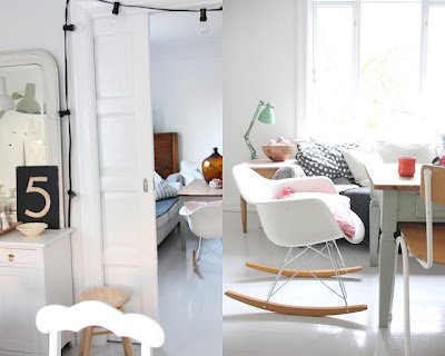 scandinavian+interior+style+eames+rocking+chair+Kasparas+Regnbue+Pastel+Interior+Inspiration Pastel Interior Workspace and Home Office Inspiration from Kasparas Regnbue