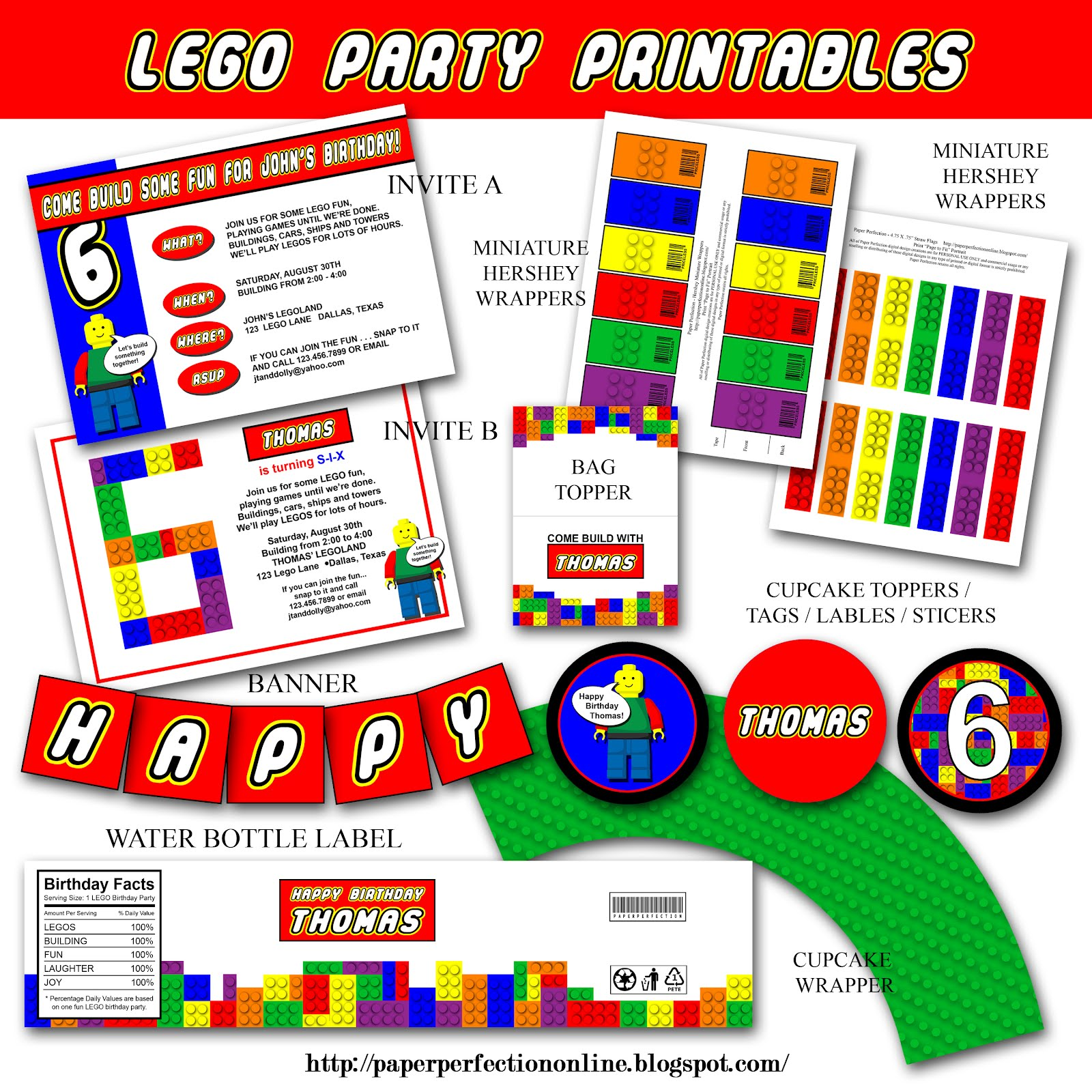 Paper Perfection: LEGO PARTY INVITATION AND PARTY PRINTABLES