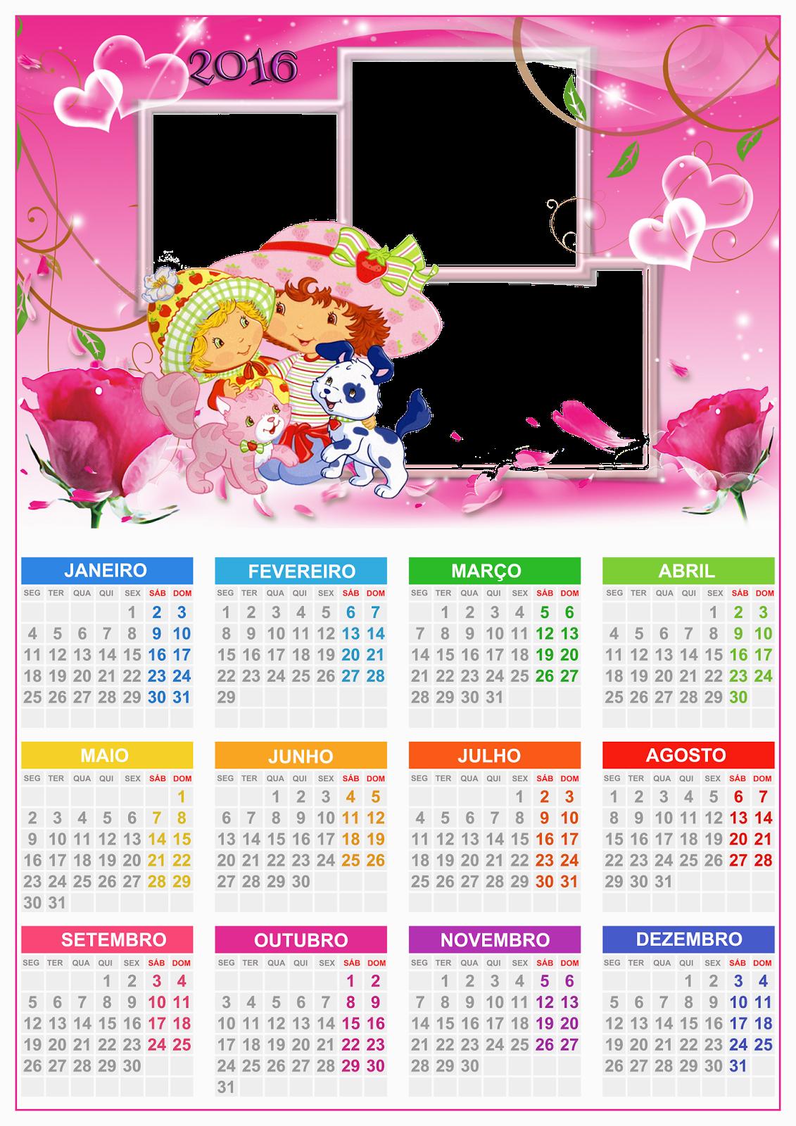 Calendário 2016 nos formatos PSD e PNG da moranguinho.Arquivo ...