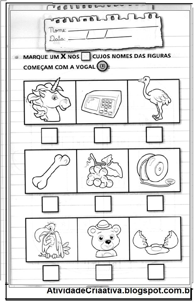 Conhecido Atividade Criativa: Atividades vogal U (educação infantil) RM39