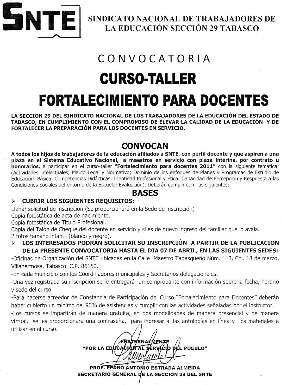 Delegacion d 1 44 27 03 11 3 04 11 for Convocatoria de maestros