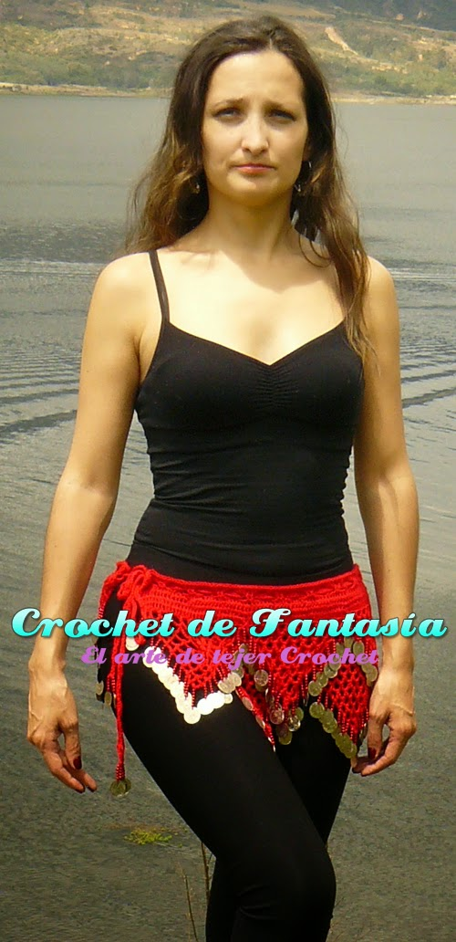 Crochet, ganchillo, monedas, triángulos, rojo, hecho a mano, caderín, danza Árabe, bellydance