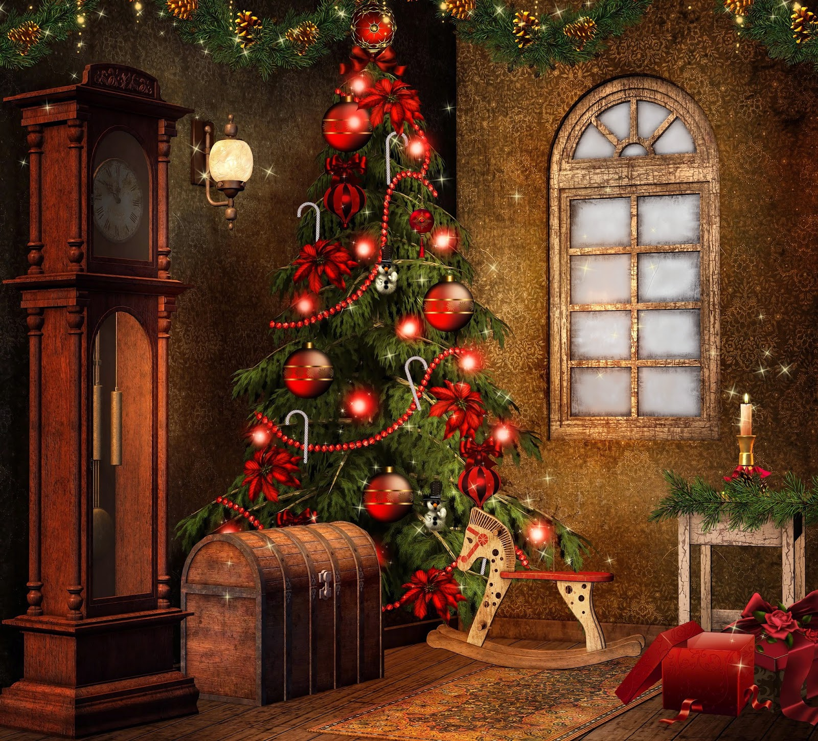 Christmas fireplace mantel decoration ideas for home made for Animated christmas decoration