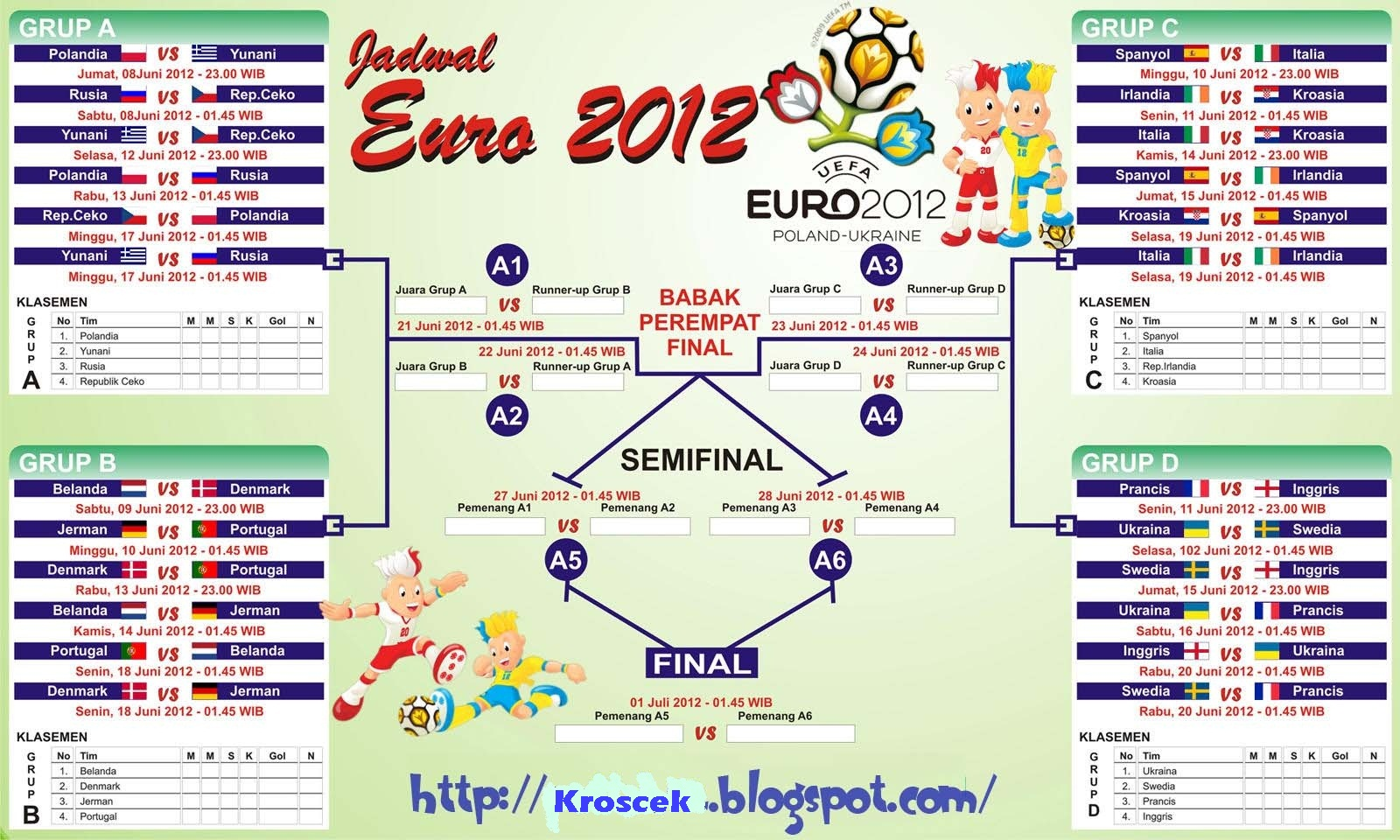 Download Jadwal Pertandingan Euro 2012