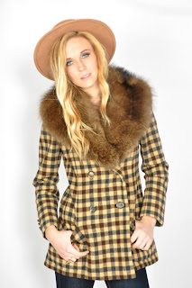 Vintage 1970's Bill Blass yellow and brown plaid peacoat with fur collar