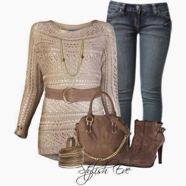 Adorable cream colour blouse, jeans, high heels and handbag for fall