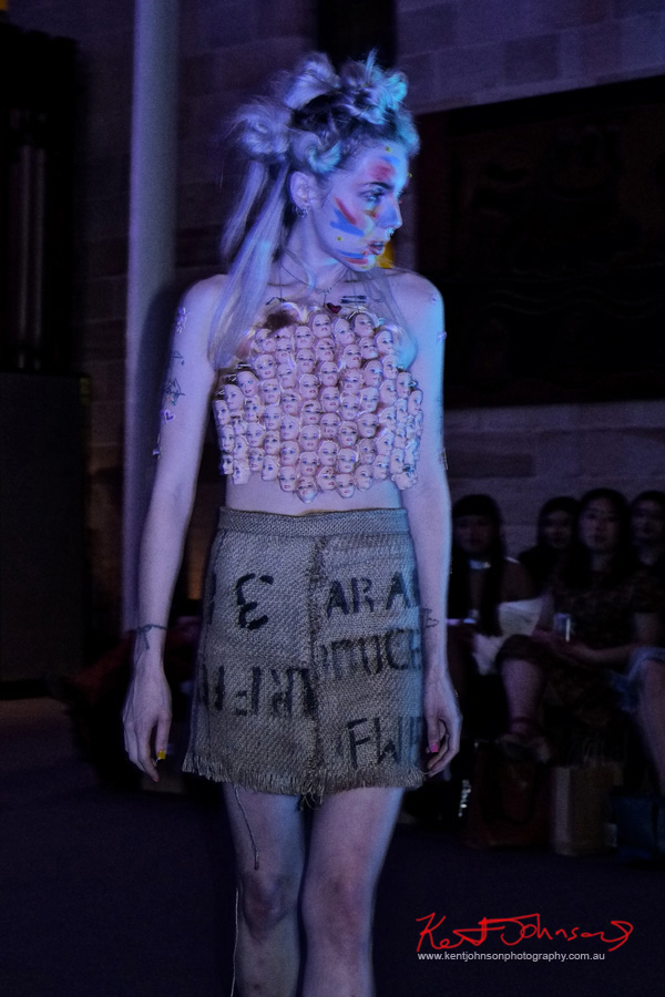 Skirt from Hessian coffee bag, dolls head halter-neck top. Raw to Recycled by Dehautt - Photographed by Kent Johnson.