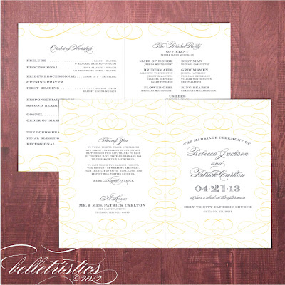 typographic printable diy yellow gray wedding ceremony program by Belletristics