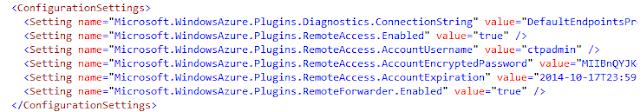 AZURE Cloud Service Configuration Settings