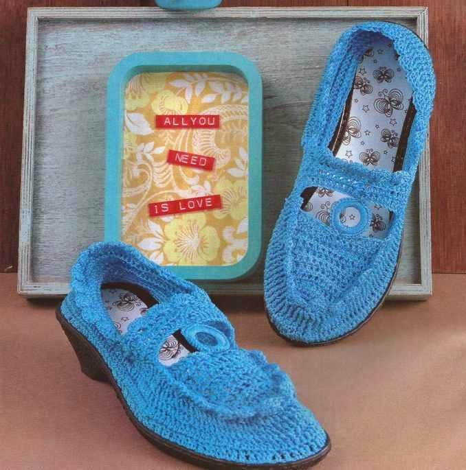 Zapatos Azules a Crochet
