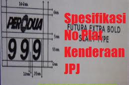 Spesifikasi No Plat Kenderaan JPJ