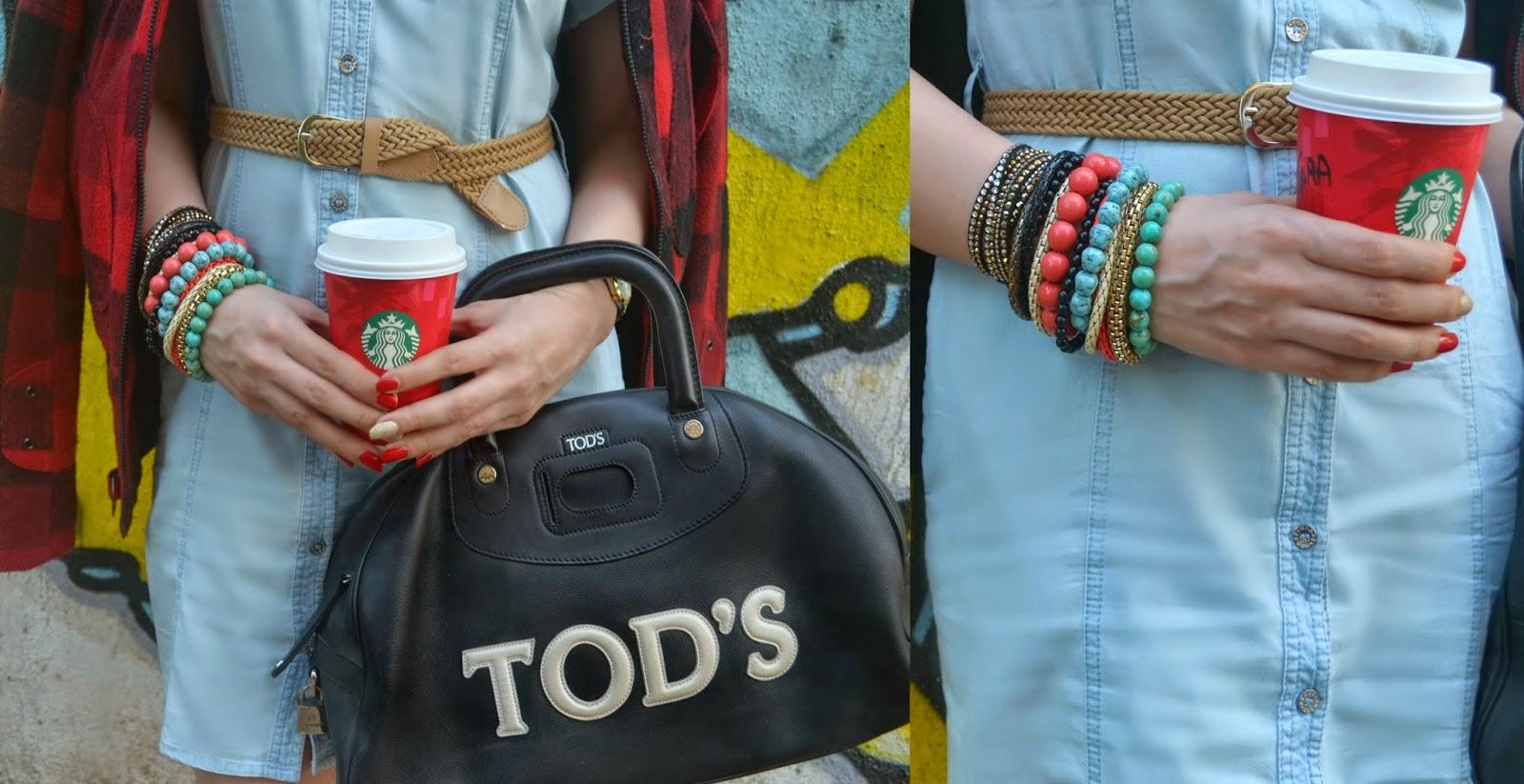 Tods bag, Starbucks Coffee, Beaded Bracelets, Swarovski slake bracelet