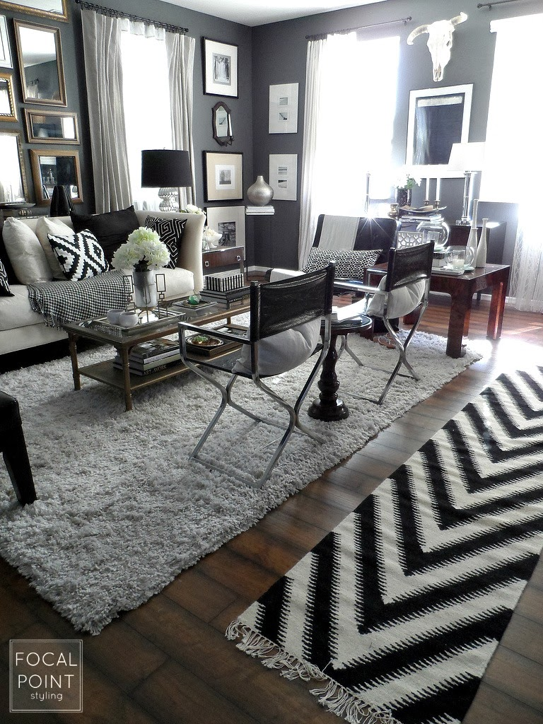 Focal point styling thrifted chic black white living - Black accessories for living room ...