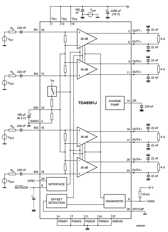 4 x 44 w into 4  u03a9 or 4 x 75 w into 2  u03a9 quad btl car radio power amplifier    diagram guide