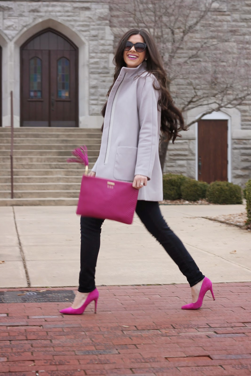 www.thesweetestthingblog.com, The Sweetest Thing Blog, Emily Gemma, Gigi New York clutch, Uber clutch in Magenta, gray sweater, jbrand jeans, jbrand denim, crystal necklace, jcrew necklace, jcrew inspired necklace, forever 21 sunglasses, mac lipstick, pinterest fashion, winter pinterest fashion, pinterest pink heels gray sweater, fuschia pumps, fuschia heels, gold michael kors watch, gigi new york bag