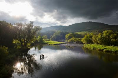 Photograph of fly fishing in the Catskills, New York.