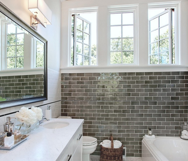 tile b a s blog shiny gray subway tile behind the shower and bathroom