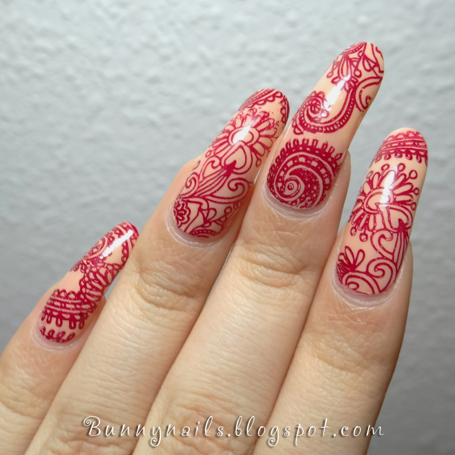 Bunny Nails Henna Tattoo Inspired Nail Art