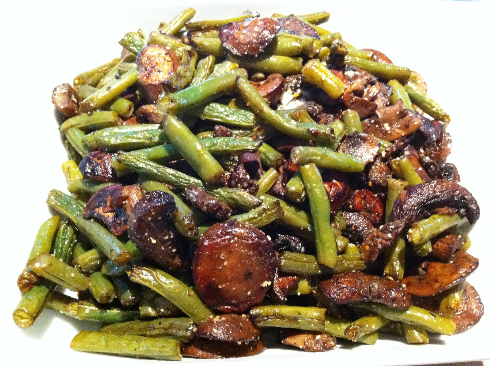 ... : recipe | roasted green beans with mushrooms, balsamic and parmesan