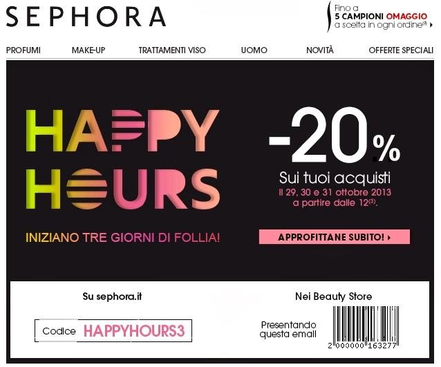 Sephora - Happy Hours -20% per 3 giorni!