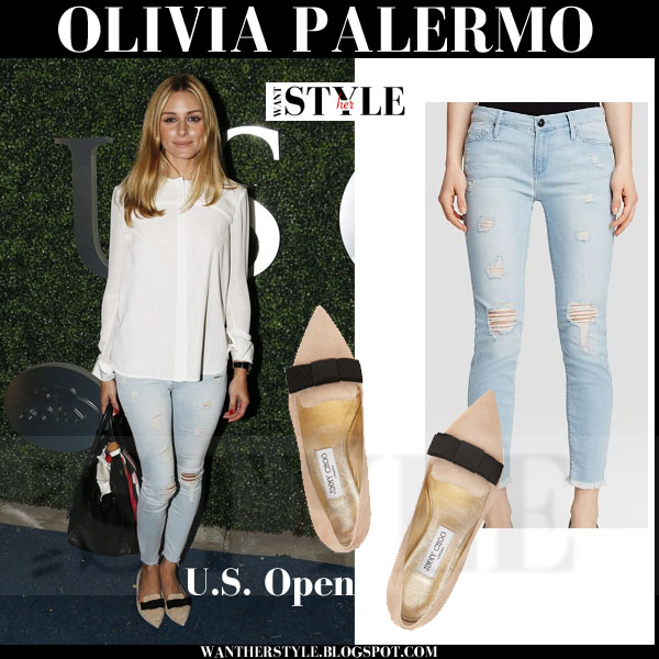Olivia Palermo in white shirt, distressed skinny black orchid jeans and bow embellished valentino flats what she wore event
