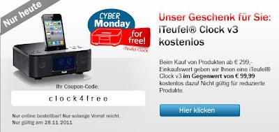 Cyber-Monday bei Teufel: iTeufel Clock v3 kostenlos auf Bestellungen ab 299 Euro