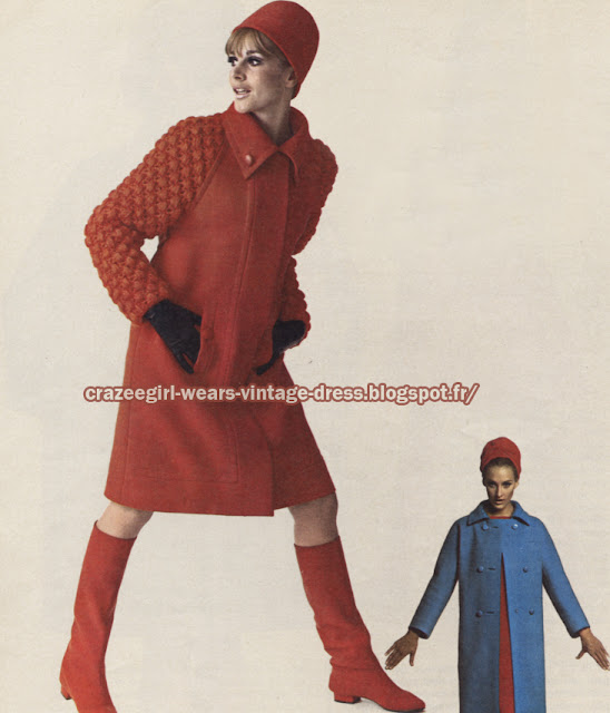 coat 1966  Jean Patou Philippe Venet 60s 1960 red blue