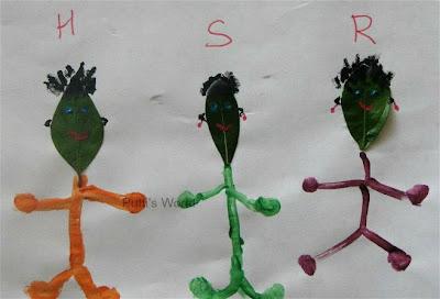 Nature Crafts for kids leaf people