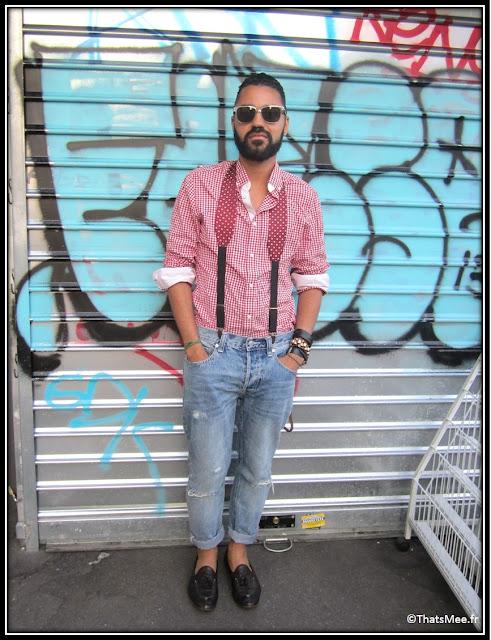 Franck Passerat bretelles DONDUP Milan Jean Topman chemise vichy rouge hommes H&M mocassins Raparo