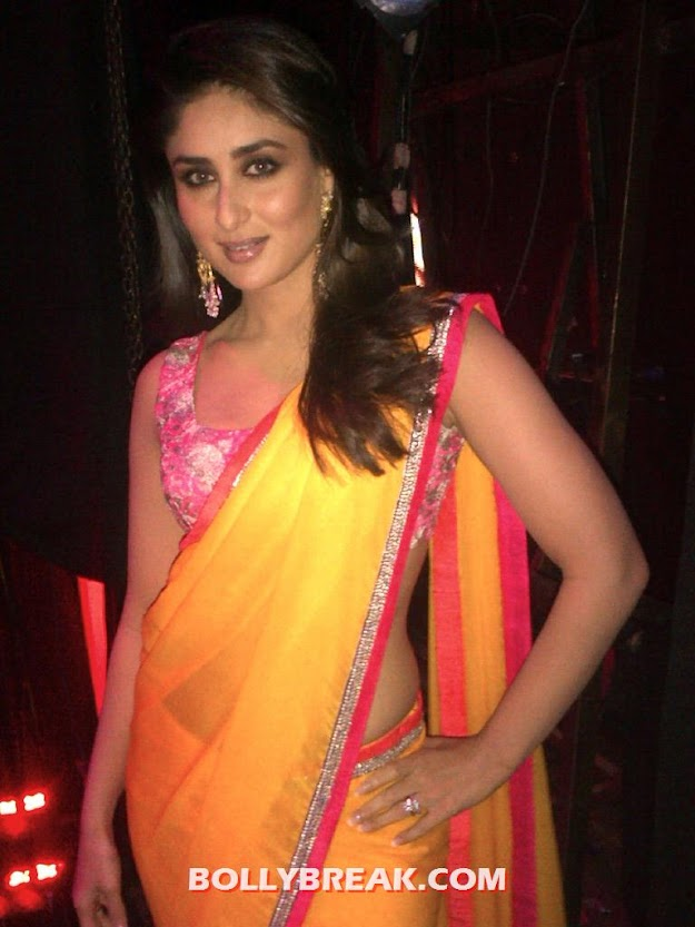 Kareena Kapoor hot - Kareena Kapoor in Orange Saree at Indian Idol 6
