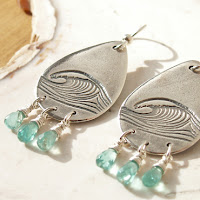 ocean wave earrings in recycled fine silver and sterling by Jennifer Kistler for sale on Etsy