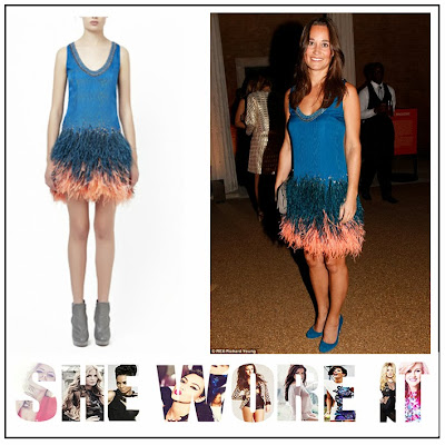 Pippa Middleton, Matthew Williamson, Royal Blue, Shift Dress, Blue, Coral, Peach, Sequin, Silk, Feather, Embellishment Detail, Feather Skirt