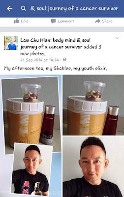 Law Chu Hian dengan produk shaklee kegemarannya