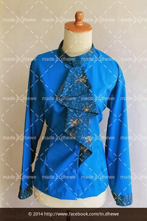 blouse batik print kombinasi kain katun polos