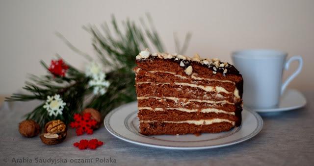 Świąteczny tort piernikowo - serowy