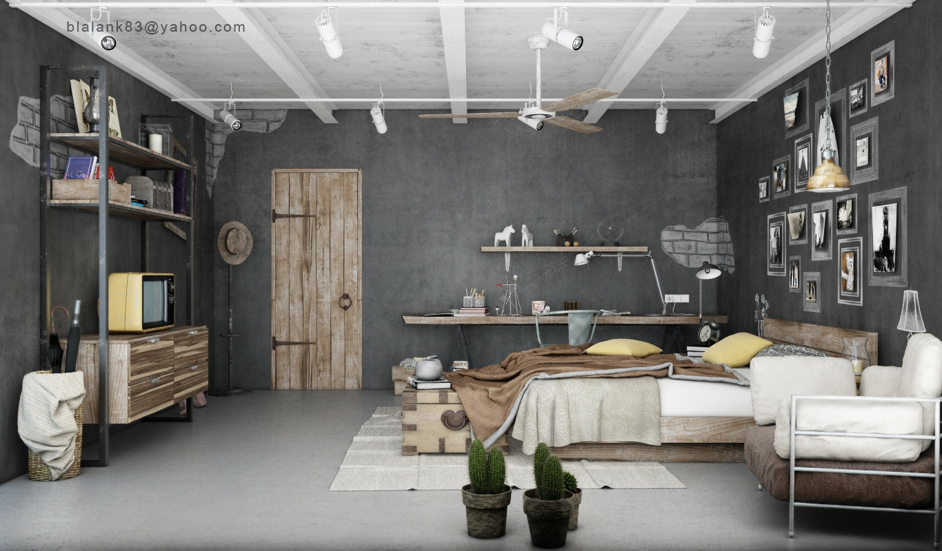 Industrial Bedrooms Interior Design  Interior Decorating, Home Design, Room Ideas