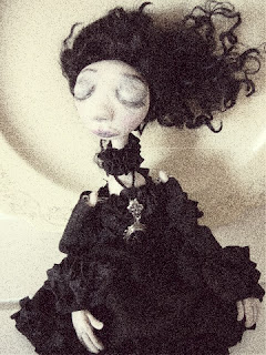 black Victorian mourning dress costume art doll OOAK