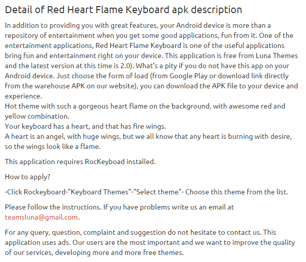 Red Heart Flame Keyboard 2.0 apk