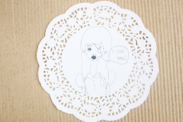doily with illustration by caitlin shearer