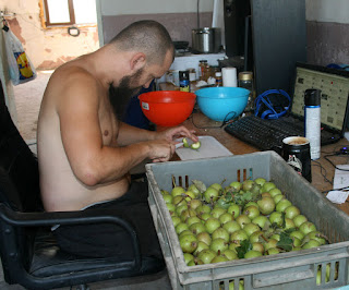Getting started on the pear chopping