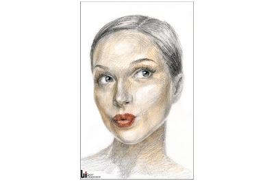 Jeune fille avec lèvres sensuelles, portrait par Igor Lukyanov (hachures croisées)
