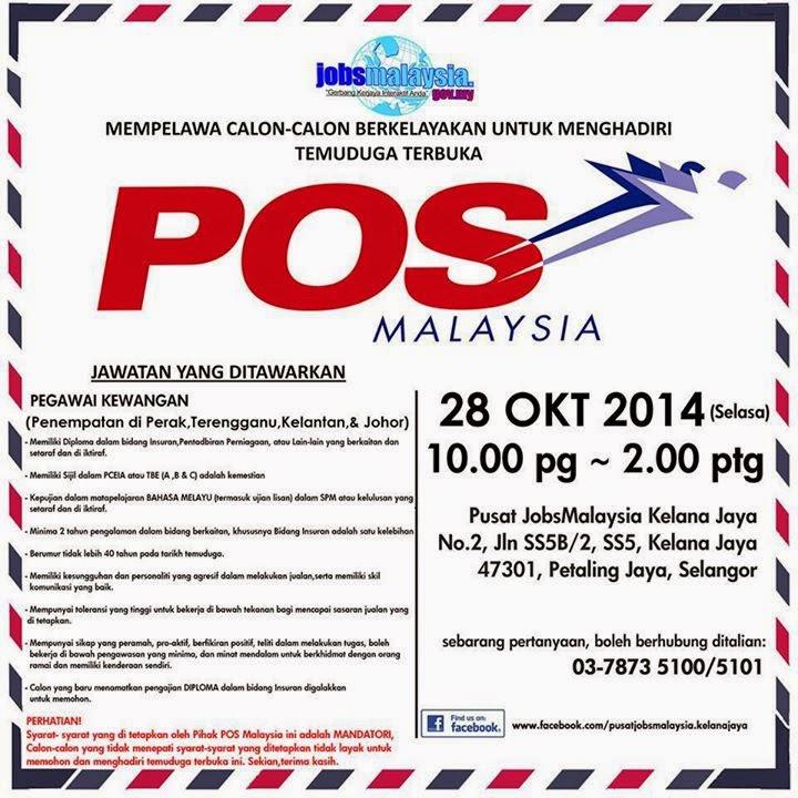 Temuduga Terbuka Pos Malaysia Bulan Oktober 2014